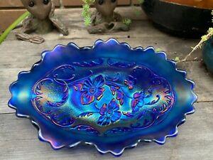 Stunning Electric Cobalt Blue Northwood Carnival Glass Pickle Dish