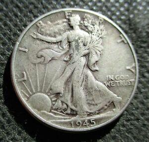"OLD SILVER 1945-P USA ""WALKING LIBERTY HALF DOLLAR"" AMERICAN EAGLE WORLD WAR II"