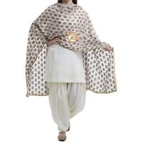 White Phulkari Dupatta Scarf with Multicolored Embroidery Free Shipping