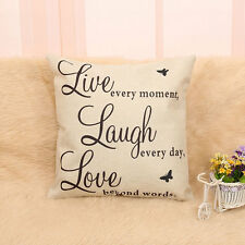 Funny Laugh Love Quotes Cushion Cover Home Decor Cotton Linen Throw Pillow Case