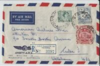APH822) Australia 1959 small registered airmail advertising cover