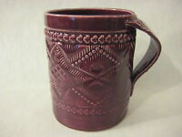 Hand-Crafted Burgundy Art Pottery Mug Signed By KMS Peace (Rare)