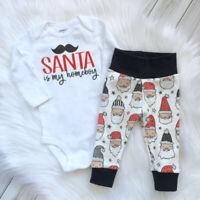 Newborn Baby Boy Girl Christmas Santa Tops Romper Pants 2Pcs Outfits Clothes