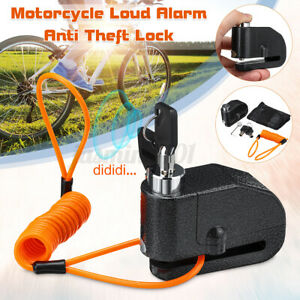 7mm Bloc Disque Bloque Protection Alarme forte Antivol 110 db Moto Scooter  |
