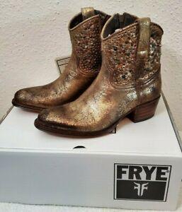 New $598 Frye Deborah Studded Gold Antique Leather Women's Ankle Booties SZ 7.5M