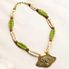"Wood Glass Repousse Pendant Necklace 30"" Tibetan Nepalese Handmade Nepal NB117"