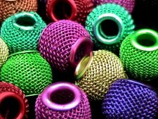 10 Pcs - Mixed Colour Hollow Filigree Mesh Beads 16mm Fit European Jewellery T53