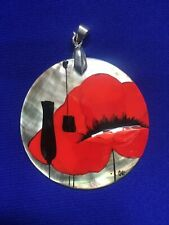 RUSSIAN HAND PAINTED PENDANT MOTHER OF PEARL SHELL THE RED POPPY/5cm/2.5'