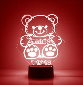 Teddy Bear Personalized Night Lamp - FREE Engraved Name - Kids Room LED
