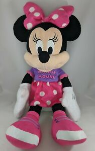 Disney Large PInk Purple Minnie Mouse 2015 Plush Doll Stuffed Animal Toy Figure