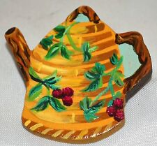 Vintage Hand Painted Wood Teapot Pin with Red Cherries & Green Leaves