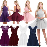 Women Evening Party Lady Bridesmaid Lace Short Dress Elegant Cocktail Ball Gown