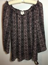 Sheer Pleated Purple Blouse Womens Size XL
