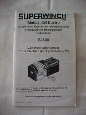 BROCHURE SUPERWINCH OWNERS MANUAL S3500 , IN SPANISH
