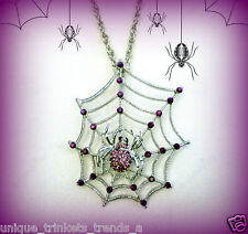 PURPLE SPIDER WEB NECKLACE~WOMENS GOTH HALLOWEEN COSTUME ACCESSORY WITCH VAMPIRE