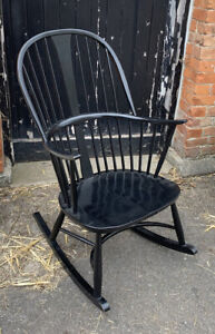 Ercol Originals Chairmakers Rocking Chair in Black Finish