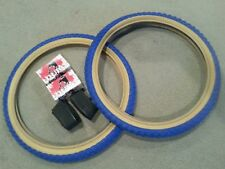 2 NEW DURO BMX BICYCLE TIRES  20X1.75 BLUE GUMWALLS  & 2 TUBES