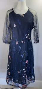Navy & Royal Blue Netted Floral Dress - Size 14-16 - New No Tags