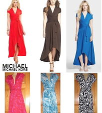 NWT MICHAEL KORS High-Low Faux-Wrap Dress Radiant Pink Tile Blue Coral Red Black