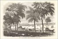 NEW LONDON, CONNECTICUT, View from Shore Road, antique engraving original 1854