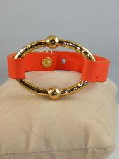 Ralph Lauren Hammered Goldtone BALI Orange Leather Bracelet LNB00127G810 $48