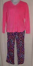 PJ Couture Size XL Pink Top w/Pink, Blue & Orange Bottoms Fleece Pajamas