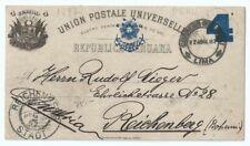 Peru Old Postal Stationery Postcard sent to Reichenberg Bohemia Via London 1897