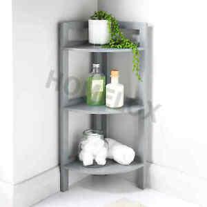 Bathroom Corner Shelf 3 Tier Shelving Rack Unit Grey Display Stand Home Storage
