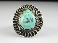 Turquoise Ring Sterling Silver Estate Size 8.25 Signed DSM