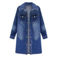 Women's Casual Loose Oversize Jeans Long Coat Retro Cowboy Denim Loose Jacket