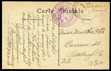 APO 752 1919 (CANNES) POSTCARD from APO 752-B to PITTSBURGH