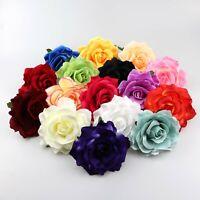 12cm Rose Flower Heads Artificial Silk Party Wedding Hair Clip Home Decor 5/50Pc