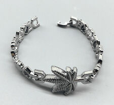 Men Womens Silver Stainless Steel Marijuana Weed Leaf Heart Chain Bracelet 7.28""