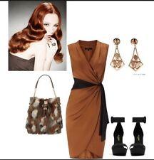 """BNWT """" Coast """" Size 16 Caramel Bronze Lavinia Silky Draped wrap Cocktail Dress"""