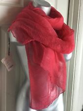 $250 COLOMBO LUXURY COTTON SCARF -MADE IN ITALY *NEW WITH TAGS* ROSE- CRINKLE