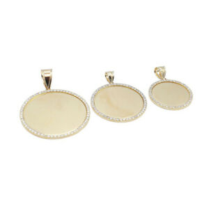 Lightweight Circle Photo Pendant • With Natural Diamonds • 14K Solid Gold