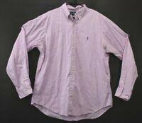 Ralph Lauren Mens XL Sz 17 Classic Fit Pink Long Sleeve Button Down Dress Shirt