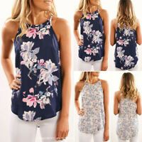 Womens Summer Sleeveless Floral Tops Camisole Lady Vest Cami Blouse UK Size 6-14