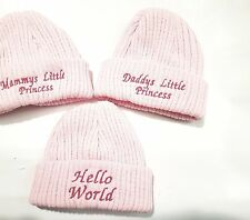Baby Knitted Wool Embroidered Personalised Hat 6 options name date year