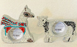 CAMEL or COW Votive Light CANDLE Holders. Silver Paint, Wood, Beaded PIER 1. NEW