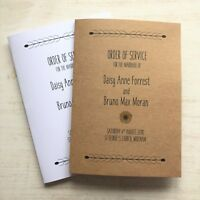 Personalised Sunflower Order of Service Booklets, Rustic Vintage Country
