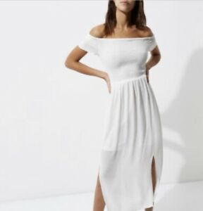 River Island Bardot Dress Size 6 Leg Split Slit Front Pleated Maxi White Summer