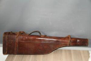 Antique Vintage Leg of Mutton Leather Gun Case with leather Straps,Shotgun Case