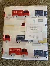 POTTERY BARN KIDS Wyatt Fire Truck QUEEN Sheets 4 pc Set NEW
