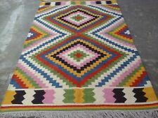 Genuine Handmade Afghan Nomadic Tribal Colorful Wool Large Kilim Rug 150x240cm