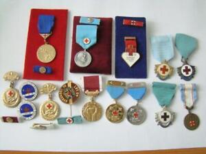 Czechoslovakia CSSR Communist BIG LOT RED CROSS Badges , badge , medal !
