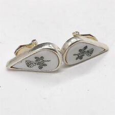 VINTAGE POTTERY GLASS FLOWER SILVER TONE LADIES COSTUME CLIP ON EARRINGS