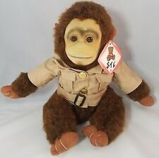 "Monkey Plush Shalom Toy Co Kid's Vintage Safari 1970'S 12"" Stuffed Animal NWT"
