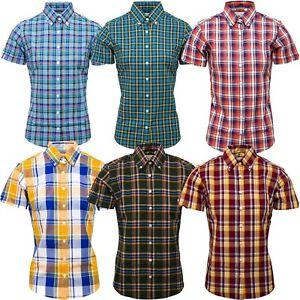 Relco Womens Cotton Check Short Sleeve Shirt Button Down Collar Mod Tartan NEW