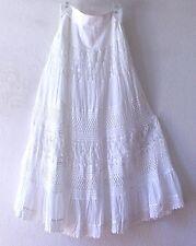 NEW~Long White Crochet Lace Peasant Prairie Boho Dress-Skirt~8/10/M/Medium